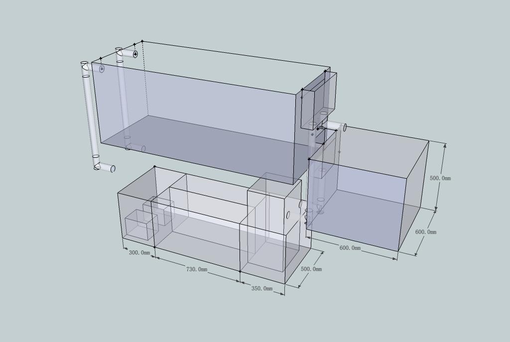 底缸过滤鱼缸设计图 底滤鱼缸过滤设计图 虹吸鱼缸底过滤-上滤鱼缸-