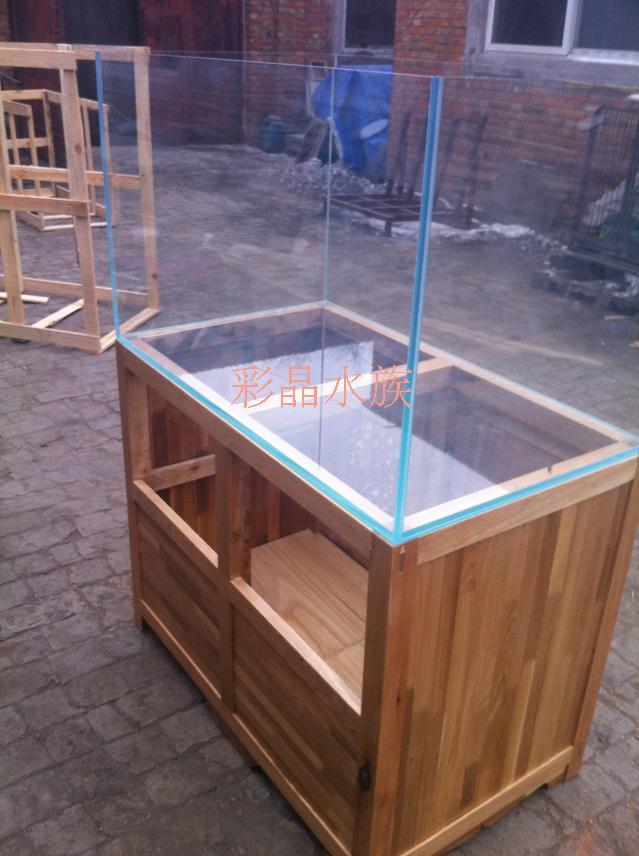 1米超白开放水槽鱼缸 实木雕花底柜
